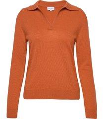 open collar sweater gebreide trui oranje davida cashmere