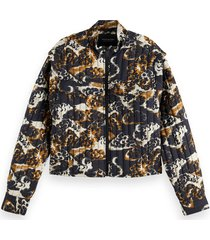 maison scotch 163640 printed quilted jacket with removable sleeves
