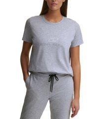 dyny sport women's cotton rhinestone-logo t-shirt