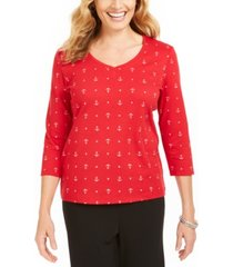 karen scott anchor-print v-neck top, created for macy's