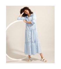 vestido chemise com recortes longo manga longa azul claro