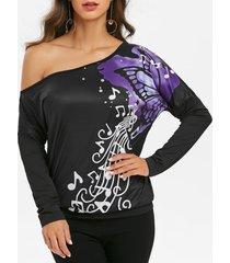 drop shoulder music butterfly print batwing sleeve t shirt