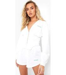 official hoodie met korset detail, white