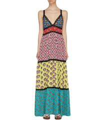 x carla kranendonk graphic print patchwork camisole maxi dress