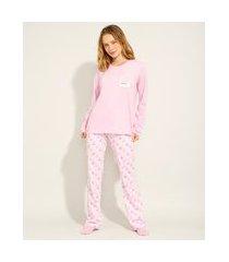 pijama de algodão manga longa pantone rosa