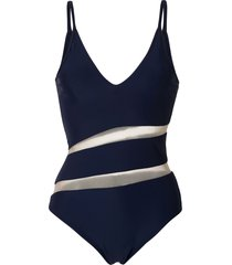 gloria coelho sheer panel swimsuit - blue