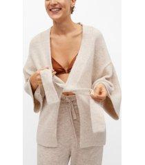 mango women's belt knit cardigan