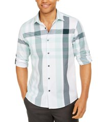 alfani men's broad plaid cotton shirt, created for macy's