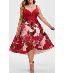 floral buckle straps overlap surplice plus size dress