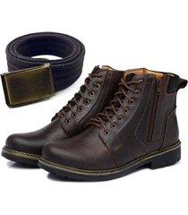 kit bota coturno couro + cinto ajustável masculino
