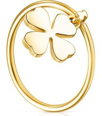 anillo stay lucky trébol dorado tous
