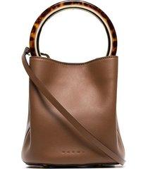 marni brown pannier resin handle leather bucket bag