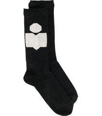 isabel marant intarsia logo socks - black