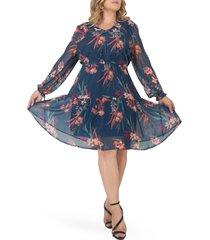 plus size women's standards & practices prairie chiffon long sleeve dress, size 2x - blue