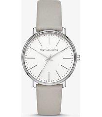 mk orologio pyper tonalità argento con cinturino in pelle - grigio (grigio) - michael kors