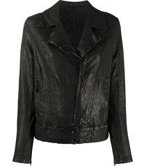 salvatore santoro embossed style side zip jacket - black
