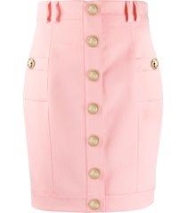 balmain short single-breasted skirt - pink