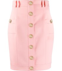 balmain short single-breasted skirt - pink