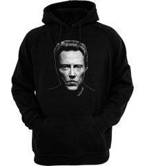 christopher walken - hand silk-screened, pre-shrunk cotton blend pullover hoodie