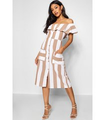 off the shoulder wide stripe midi dress, taupe