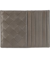 bottega veneta small intrecciato zipped wallet - grey