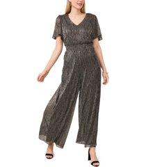 msk plus size metallic smocked-waist jumpsuit