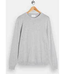 mens grey gray marl knitted sweater