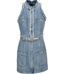 balmain chain embellished denim dress
