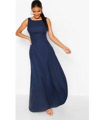 gelegenheids maxi jurk met laag uitgesneden rug, marineblauw