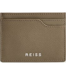 reiss cabot - leather card holder in clay, mens