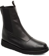 ursula leather shoes boots ankle boots ankle boot - flat svart flattered