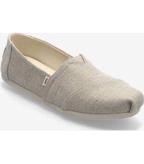 natural metallic woven sandaletter expadrilles låga creme toms