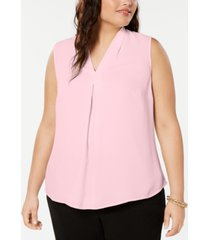 bar iii trendy plus size inverted-pleat top, created for macy's