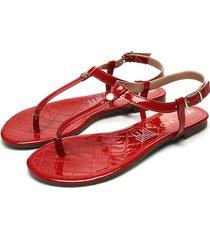 sandalia plana rojo via uno