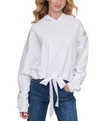 dkny jeans hologram-logo satin-tie-hem hoodie