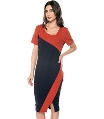 vestido manga corta estampado doble color realist
