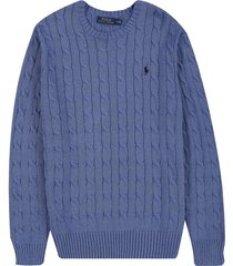 sweater deep blue heather polo ralph lauren m/l c/redondo unicolor trenzado ppc