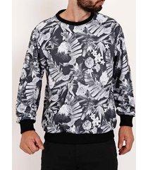 moletom fechado floral full surf masculino preto/branco
