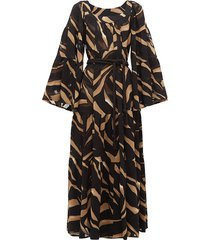 peasant abstract-print tiered crepe maxi dress