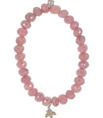 diamond petals pink grapolite bead bracelet
