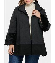 plus size faux fur trim one button coat