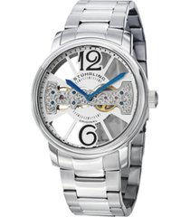 stuhrling stainless steel case on link bracelet, silver tone skeletonized dial with exposed bridge movement, with blue and black accents