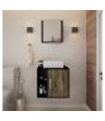 conjunto para banheiro gabinete com cuba q32 e espelheira soft 500 preto ônix com carvalho dark