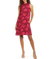 women's gibson x hi sugarplum! cavallo ruffle neck date dress, size small - burgundy
