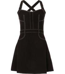 dion lee stitched mini-dress - black
