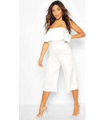 petite bandeau frill culotte jumpsuit, white