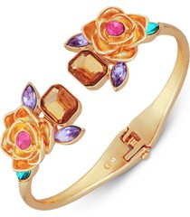guess gold-tone stone & flower hinged bangle bracelet