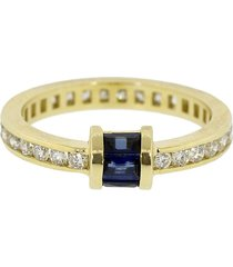 retrouvaí 14kt yellow gold diamond channel barrel band ring - ylwgold