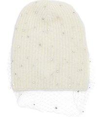 'crystal voilette' embellished mesh overlay beanie