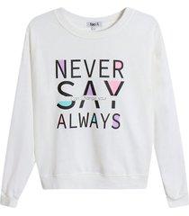 buzo c/r never say always color blanco, talla l